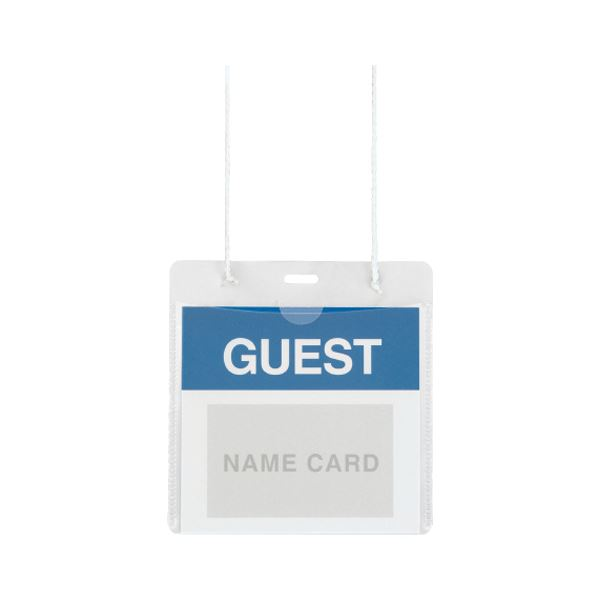 (まとめ) プラス イベント用 吊り下げ式 名札イベントサイズ ホワイト CT-E1 1パック(50個) 【×5セット】