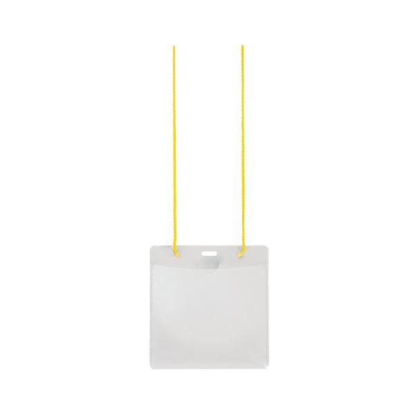 (まとめ) プラス イベント用 吊り下げ式 名札イベントサイズ イエロー CT-E1 1パック(50個) 【×5セット】