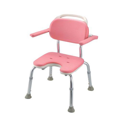 リッチェル やわらかシャワーチェア ピンク U型肘掛付コンパクト VSY0601
