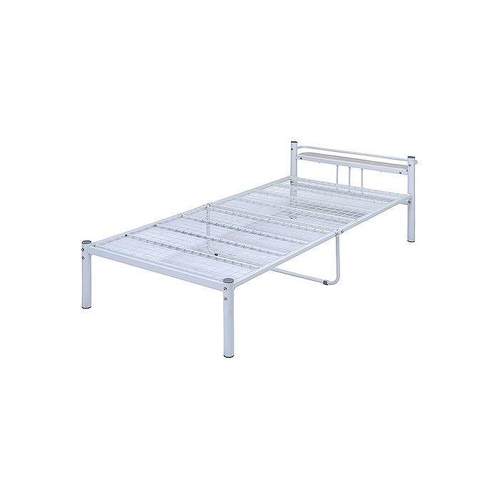 宮付 シングルベッド W1000×D2190×H635mm スチール MDF(PVC) おしゃれ アイボリー(代引不可)【送料無料】