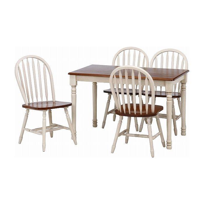 5点ダイニングテーブル W1135×D735×H720mm 天然木(ラバーウッド) おしゃれ ホワイト×ブラウン(代引不可)【送料無料】【S1】