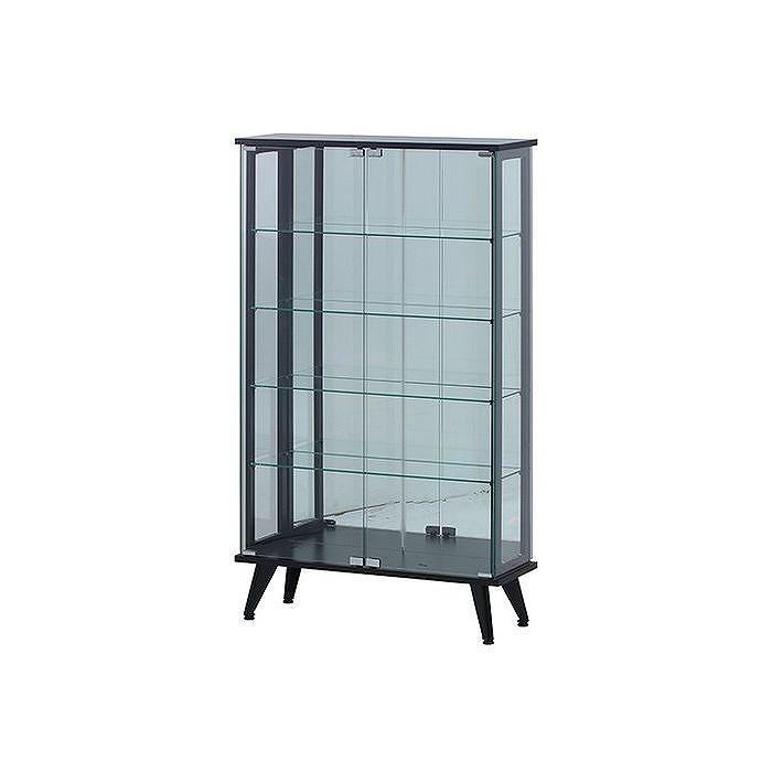 ガラスディスプレイラック ブラック W800×D270×H1340mm 強化ガラス おしゃれ(代引不可)【送料無料】