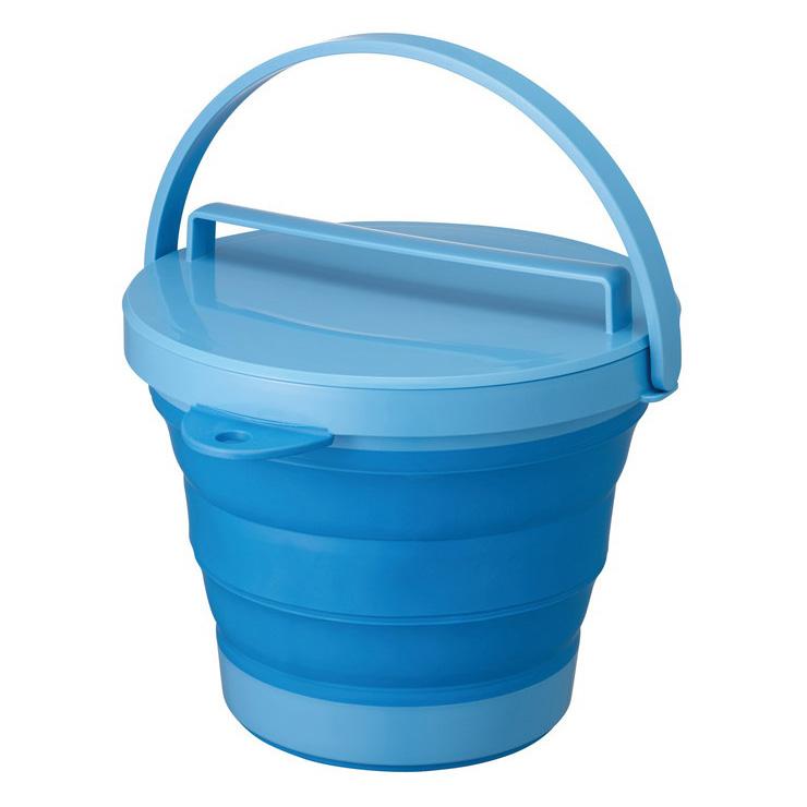 折りたたみ SOFT 発売モデル BUCKET8型 ソフトバケツ フタ付き 8L ブルー バケツ 100%品質保証! バスケット 伊勢藤 コンパクト 折り畳み 桶 たらい