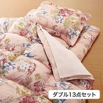毛布 敷パッド 付 やわらか フェザー 掛布団 寝具 ダブル 13点セット ピンク(代引不可)【送料無料】