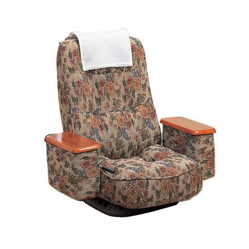 座椅子 リクライニング 天然木 肘付き 高反発回転座椅子 座ったままリリクライニング ブラック(代引不可)【送料無料】【S1】