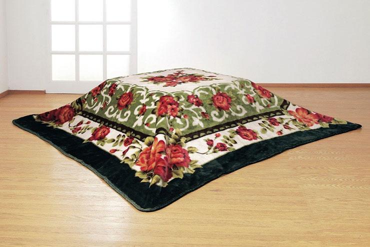 遠赤綿入り 三層ボリューム こたつ毛布 正方形(代引不可)【送料無料】