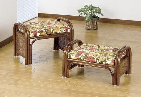 スツール 座椅子 天然籐らくらく座椅子2脚組 ロータイプ ハイタイプ セット 籐 天然籐 椅子 チェアー イス(代引不可)【送料無料】