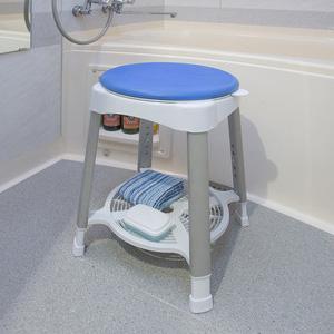 回転式浴室椅子 プッシュ 調節 物置 風呂 シャワー 浴室 回転 丸形(代引不可)【送料無料】