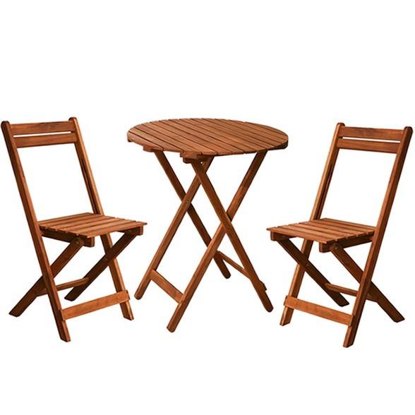 ガーデン丸テーブル&チェア 3点セット(ミニサイズ)木製 天然木 庭 ベランダ おしゃれ 北欧 ガーデン 屋外 ピクニック キャンプ(代引不可)【送料無料】