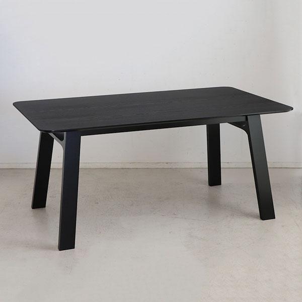 ダイニングテーブル 160 テーブル単品 食卓 テーブル マットブラック 木製 ラバーウッド 木目 モダンデザイン 北欧(代引不可)【送料無料】【S1】