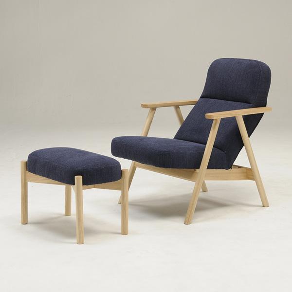 パーソナルチェア オットマン付き ファブリック 布 ウレタンフォーム 木肘 天然木 北欧 おしゃれ 和 椅子 いす ブルー(代引不可)【送料無料】