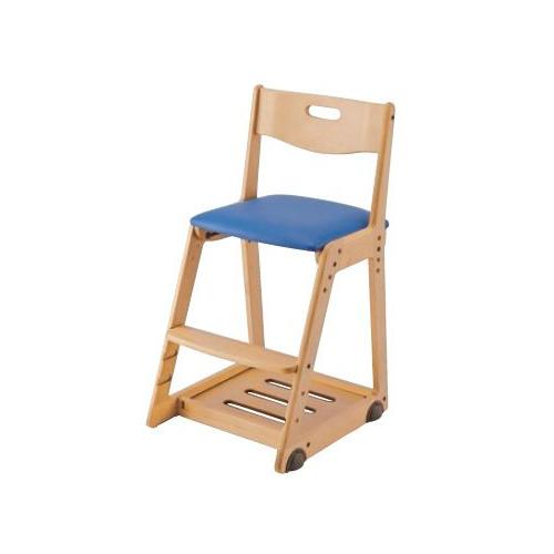 イトーキ 学習椅子 学習チェア 木製チェア キッズチェア 木製チェア ソフトレザー(マリンブルー) KM36-74MB(代引不可)【送料無料】