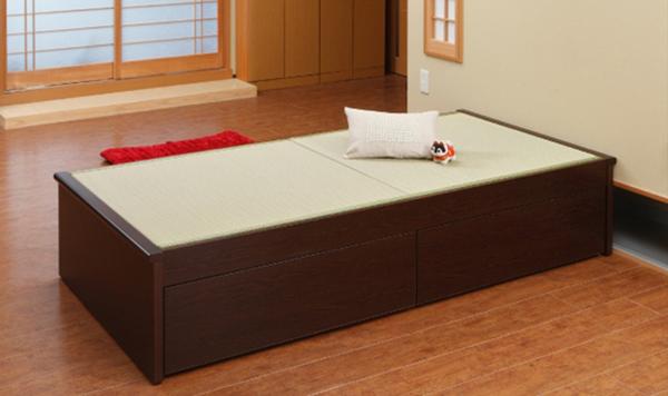 【組立設置サービス付き】 引出 収納付き 畳ベッド ベッドレスタイプ シングル(代引不可)