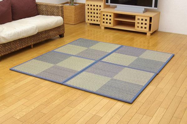 ユニット畳 『ニール』 ブルー 82×82×1.7cm(9枚1セット) 軽量タイプ【送料無料】【代引き不可】