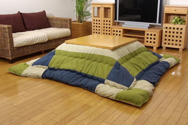 こたつ厚掛け布団単品 インド綿 『和つむぎ』 グリーン 205×245cm【送料無料】【代引き不可】
