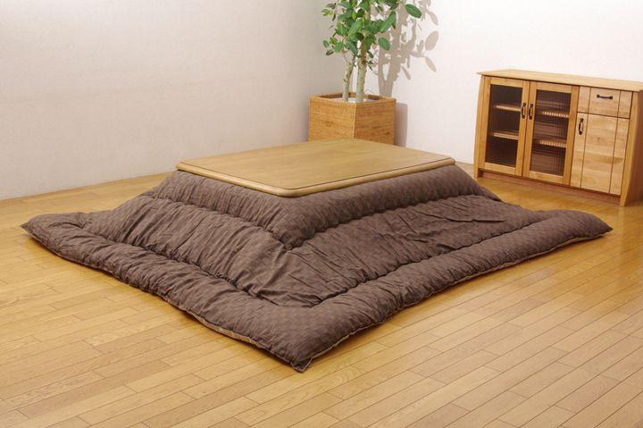 インド綿 こたつ厚掛け布団単品 『クレタ』 ブラウン 205×285cm(代引き不可)【送料無料】