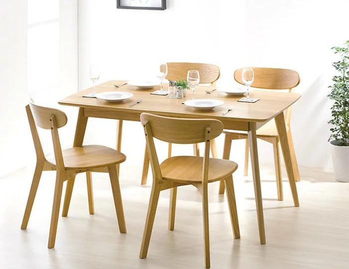 ダイニング5点 おしゃれな ダイニング テーブル 食卓 食卓テーブル 木製 無垢 無垢材 北欧 オーク 天然木 おしゃれ(代引不可)【送料無料】