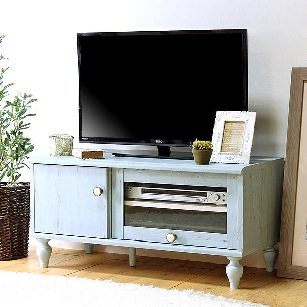 フレンチシャビー テレビボード 幅90cm 32型 ローボード アンティーク風 テレビ台 TV台 TVボード(代引不可)【送料無料】
