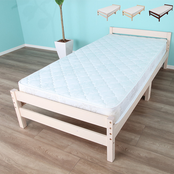 すのこ すのこベッド 天然木 ベッドフレーム マットレス セット(代引不可)【送料無料】 木目調 ベッド マットレスセット シンプル