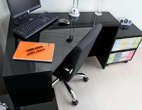 鏡面 コーナーパソコンデスク 3点セット ブラック FM144BK(代引き不可)【送料無料】