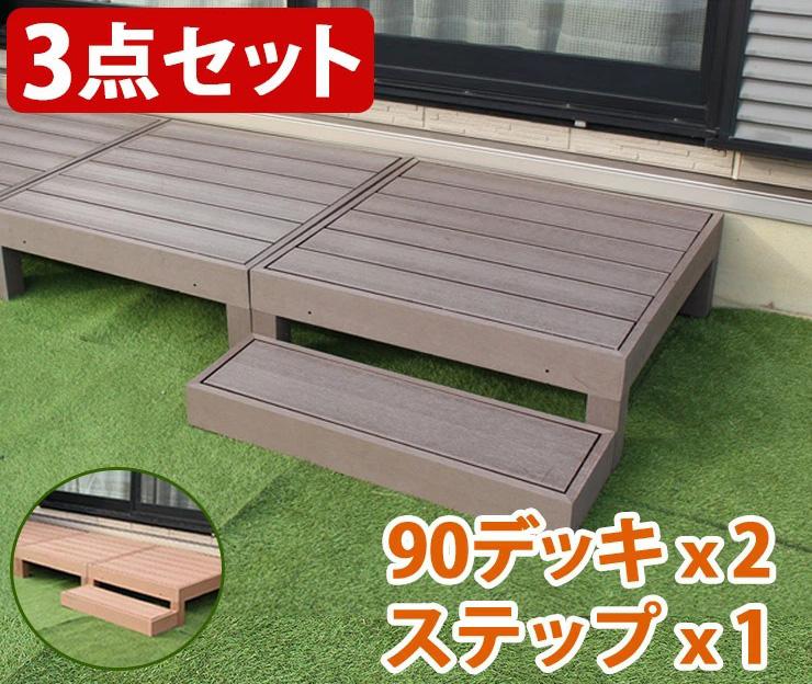 人工木ウッドデッキ 3点セット 90×90cm:2点とステップ台 ウッドデッキ 木目調 樹脂 ガーデンデッキ ウッドデッキ(代引不可)【送料無料】