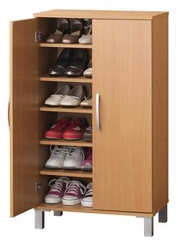 シューズボックス 靴収納 扉付 ブーツ 可動棚 ツードア シューズボックス ナチュラル(代引き不可)【送料無料】