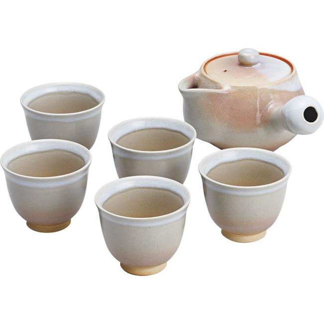 萩焼 姫萩茶器揃 和陶器 H2-86(代引不可)