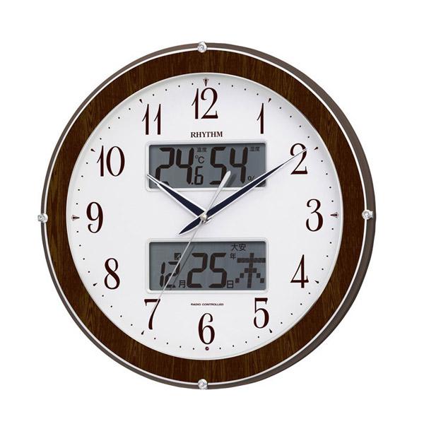 リズム RHYTHM 電波 掛け時計 ピュアカレンダー622 4FY622SR23 ブラウン