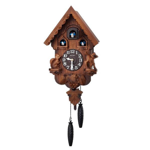 リズム RHYTHM 鳩時計 カッコーパンキーR 4MJ221RH06 濃茶ボカシ木地仕上