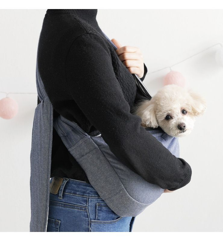 roomnhome モダンスリングバックS(デニム) 37×21×9cm お出かけ スリングバッグ 猫 犬 オシャレ 肩掛け カバン ペットキャリー(代引不可)