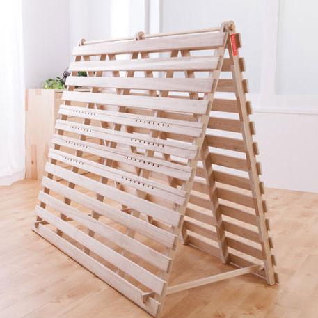 スタンド式で布団が干せる桐すのこベッド(2分割タイプ)ダブル 【送料無料】