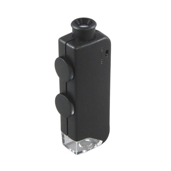 【MIZAR-TEC】ミザールテック 顕微鏡 携帯用 倍率60~100倍ズーム ポケットタイプ LEDライト付き NO833 /40点入り(代引き不可)
