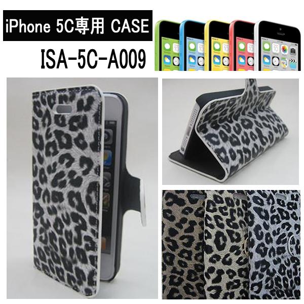 iPhone 5C専用 CASE ISA-5C-A009 ヒョウ柄ダイアリーケース ISA-5C-A009/18点入り(3色×6個)アソート(代引き不可)