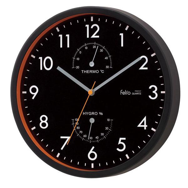 温湿計付掛時計 FEW137 エアハウス /20点入り(代引き不可)