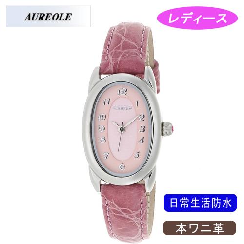 【AUREOLE】オレオール レディース腕時計 SW-487L-4 アナログ表示 本ワニ革 日常生活用防水 /10点入り(代引き不可)