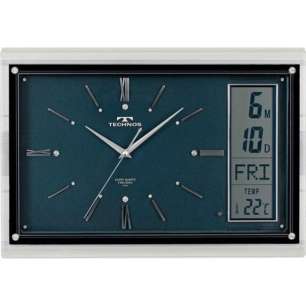 テクノス掛時計W-540DBU /5点入り(代引き不可)【送料無料】