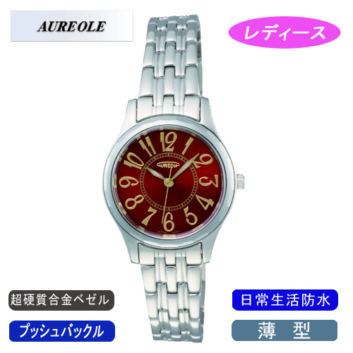 【AUREOLE】オレオール レディース腕時計 SW-491L-4 アナログ表示 薄型 超硬質合金ベゼル 日常生活用防水 /5点入り(代引き不可)【送料無料】