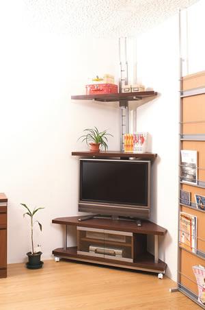 突っ張りコーナーラック2段+コーナーテレビ台 120cm幅 NJ-0028 日本製【送料無料】