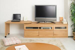 天然木テレビボード回転盤付 150.5cm幅 ナチュラル色【送料無料】【日本製】【完成品】