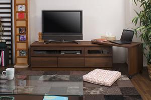 天然木テレビボード回転盤付 150.5cm幅 ダークブラウン色【送料無料】【日本製】【完成品】