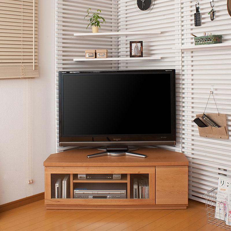 天然木アルダーコーナーTVボード 幅約116 ナチュラル色【送料無料】