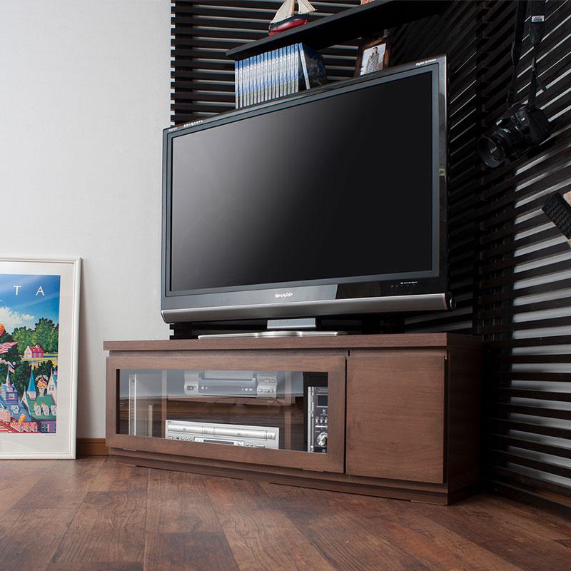 天然木アルダーコーナーTVボード 幅約116 ダークブラウン色【送料無料】