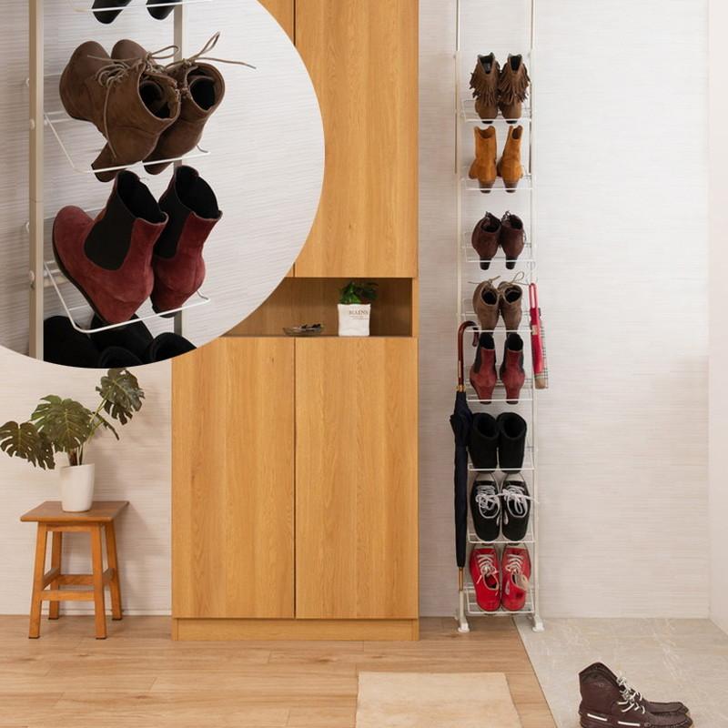 日本製 完成品 突っ張り つっぱり 壁面 薄型 シューズラック 靴入れ ハイカットブーツ専用 ブーツ 幅29cm ホワイト 白(代引不可)【送料無料】
