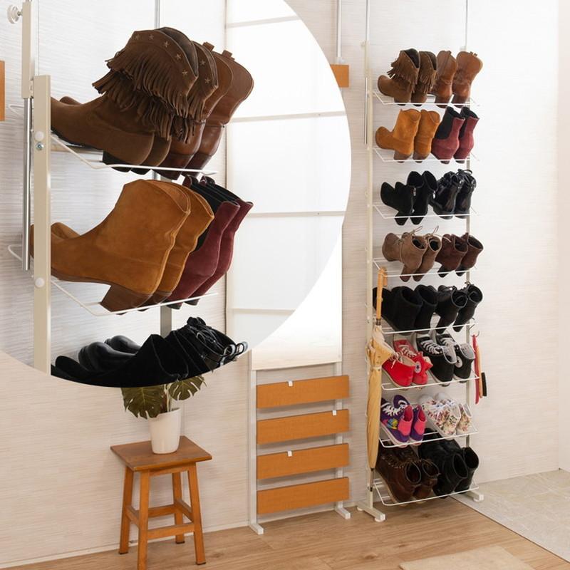 日本製 完成品 突っ張り つっぱり 壁面 薄型 シューズラック 靴入れ ハイカットブーツ専用 ブーツ 幅53cm ホワイト 白(代引不可)【送料無料】