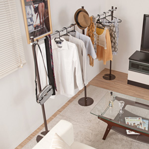 室内物干し兼用ハンガー ダブル ブラウン色 ポールハンガー ハンガーラック 衣類収納 服吊 ワードローブ(代引不可)【送料無料】