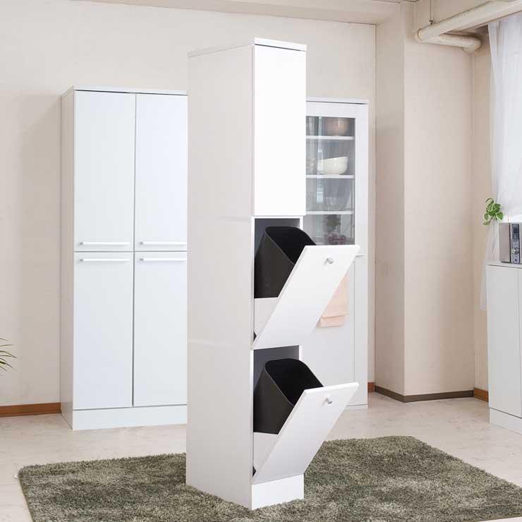 日本製 ダストボックス ゴミ箱付き 棚 コンパクト スリム 2分別 幅25 ホワイト 白 おしゃれ 収納棚(代引不可)【送料無料】