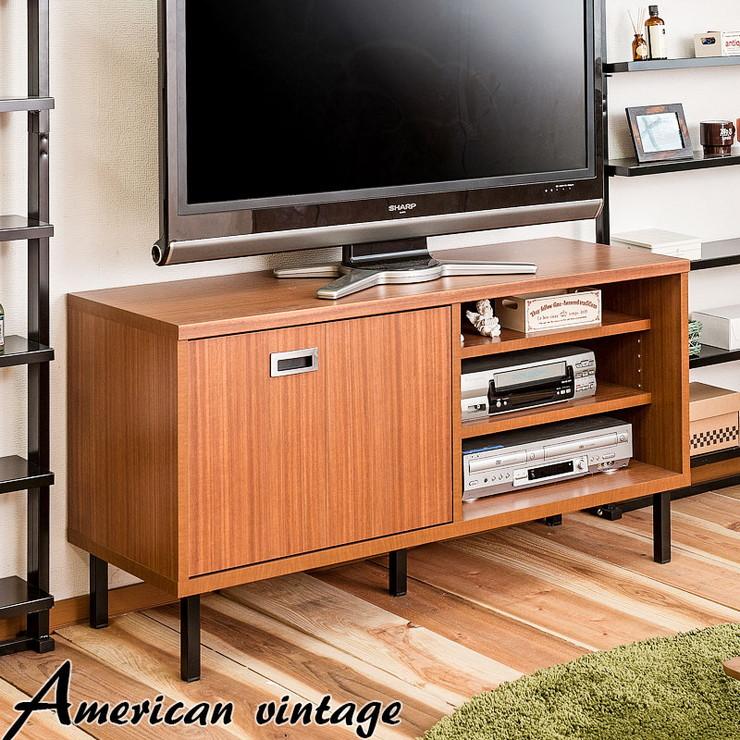 日本製 折戸式 TVボード 幅118 収納 収納棚 収納家具 モダン アメリカン ヴィンテージ 国産(代引不可)【送料無料】