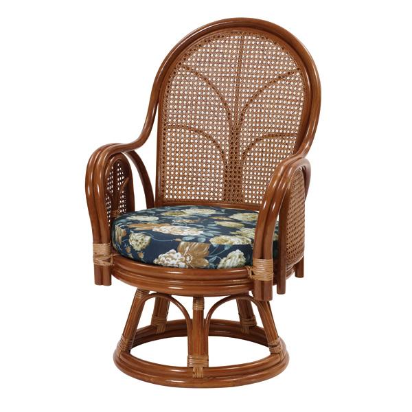 ラタン ハイバック 回転チェア 籐家具 籐椅子 チェア 籐 回転椅子 イス 椅子 チェア 座椅子 一人掛け 1人掛け クッション(代引不可)【送料無料】