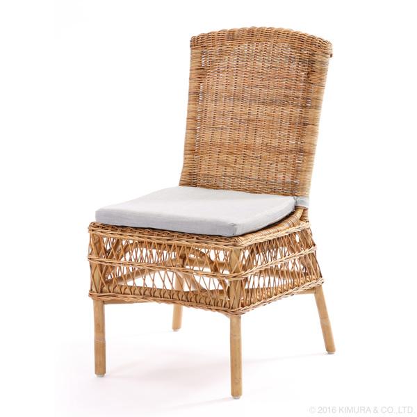 ラタン ナチュラルダイニングチェア 家具 インテリア イス 椅子 ダイニングチェア 籐 アジアン ナチュラル 天然素材 クッション(代引不可)【送料無料】
