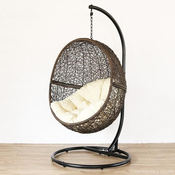 ハンギングチェア ワイド BR(ブラウン)生地:W(ホワイト) ハンモックチェア 椅子 パーソナルチェア 一人掛け 撥水 クッション(代引不可)【送料無料】